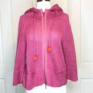 Moth Anthropologie Sweater XS Pink Linen Hooded